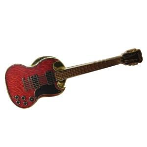 Pin's métal émaillé motif guitare SG rouge