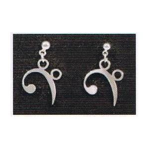 boucles d'oreilles inox motif clef de fa