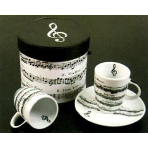 set 2 tasses à café motif partitions avec soucoupes