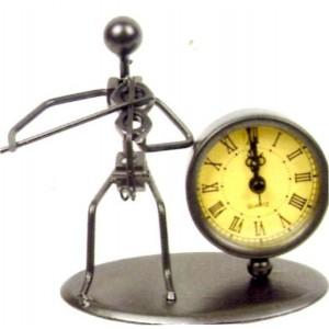 Sculpture métal violoniste avec horloge