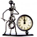 Sculpture métal violoncelliste avec horloge